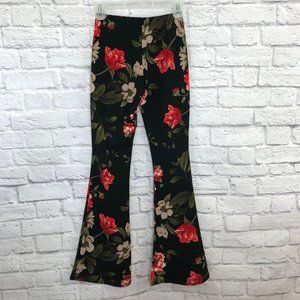 Rainbow Flare Stretch Pants Hippy Floral